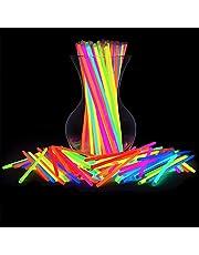 100 عصا توهج لوازم الحفلات ، 8 بوصات تضيء بـ 8 ألوان تتوهج في ديكورات الحفلات المظلمة ، قلادات متوهجة للحفلات وأساور متوهجة للأطفال