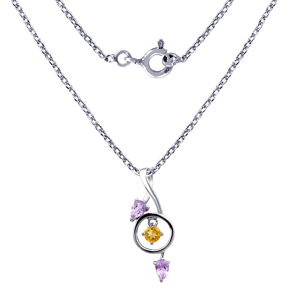 A Unique Idea For Wife Orchid Jewelry 1.15 Ctw Natural Round Yellow Citrine and Amethyst Sterling Silver Pendant With An 18 Inch Chain Or Necklace-November Birthstone Gemstone Life For Christmas