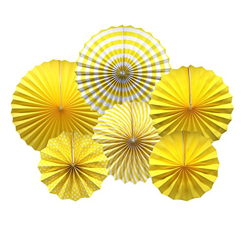 Party Hanging Paper Fans Set, Yellow Round Pattern Paper Garlands Decoration for Birthday Wedding Graduation Events Accessories, Set of 6 ()