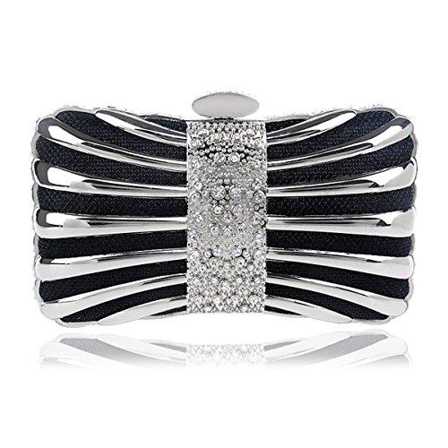 borsa Nero con da da americana Borsa europea con sera da metallo argento borsa Borsa moschettone sera sera in e Borsa con colore donna da v6gOwaxgq