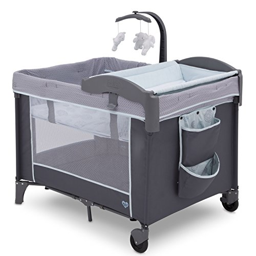 Delta Children LX Deluxe Portable Baby Play Yard With Removable Bassinet and Changing Table, Eclipse (Graco Travel Playpen)
