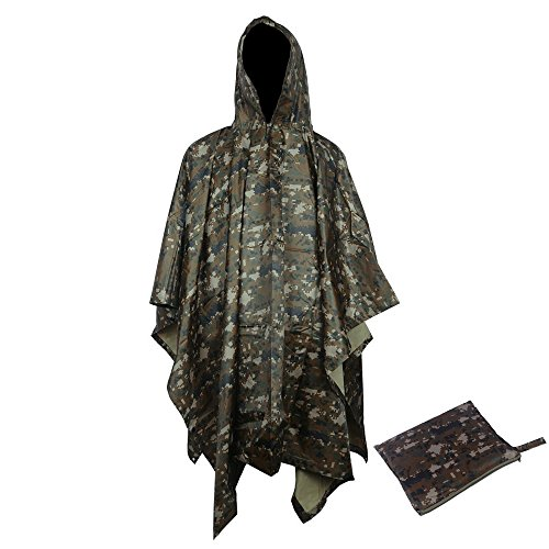 Reusable Portable Military Multi-Use Camouflage Waterproof Hooded Ripstop Rain Poncho for Adults Outdoor Hiking Camping Hunting (Woodland)