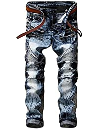 HerQueen Men Ripped Jeans Distressed Pant with Tapered Leg