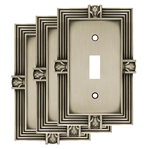 Franklin Brass W10272V-BSP-R Pineapple Single Toggle Switch Wall Plate, 3-Pack, Brushed Satin Pewter