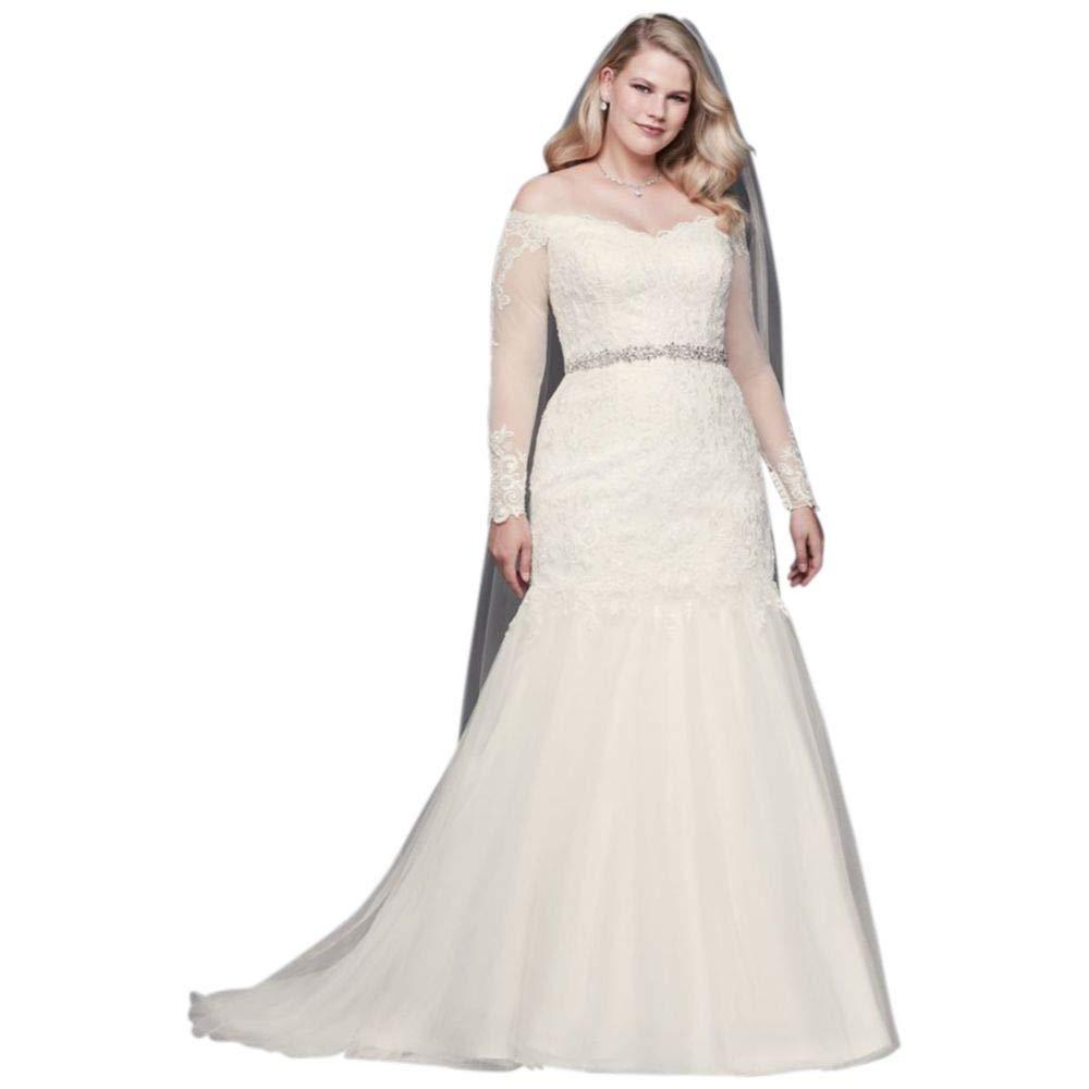4aef756a051ec Davids Bridal Plus Size Long Sleeve Wedding Dress