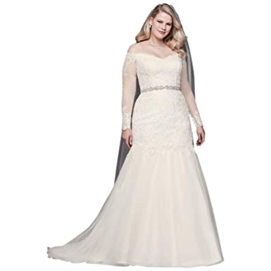 David\'s Bridal Long Sleeve Off-Shoulder Plus Size Wedding ...