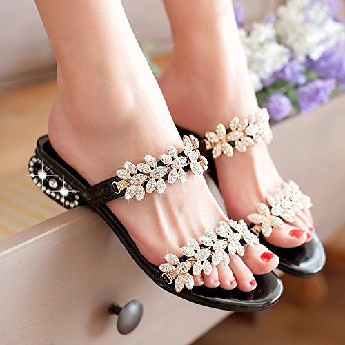 Summer Fashion Simple Color Quality Rhinestone UK6 Shoes with CN39 Sandals FEIFEI 4CM High Black EU39 Size High Women's Black Material Optional Slippers Gold Black wqTx0ztp