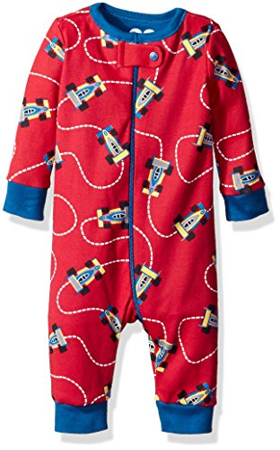 The Children's Place Baby Boys' Long Sleeve One-Piece Pajamas, Race Car/Classic Red 65768, 3-6 (Infant Boys Long Sleeve Race)
