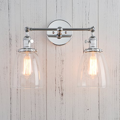 Cone Oval Ovals (Permo Double Sconce Vintage Industrial Antique 2-lights Wall Sconces with Oval Cone Clear Glass Shade (Chrome))
