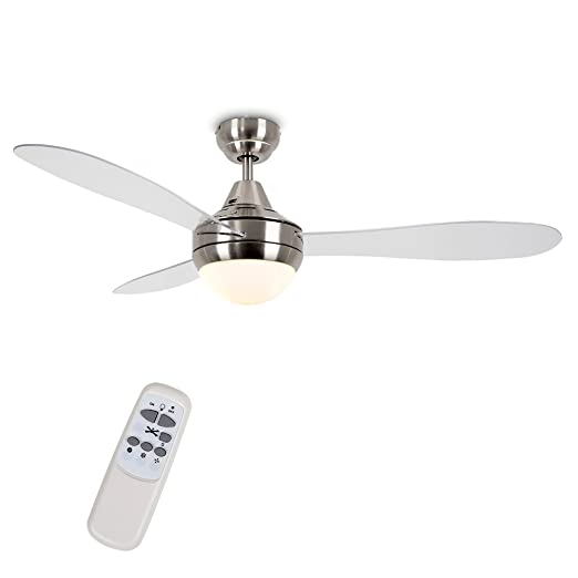 Minisun 48 122cm modern brushed chrome clear blade ceiling minisun 48quot 122cm modern brushed chrome clear blade ceiling fan with frosted opal mozeypictures Images