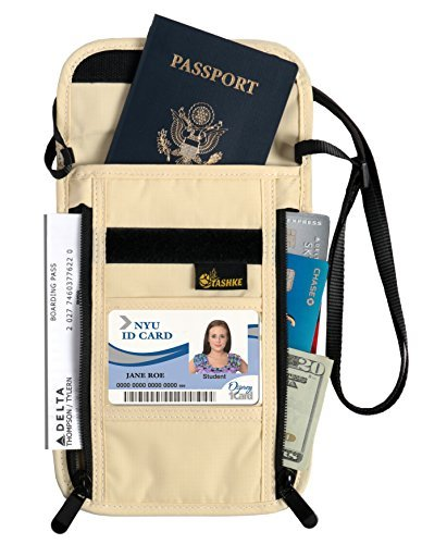 Tashke RFID Blocking Passport Neck Travel Wallet Pouch Hidden Security Wallet