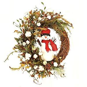 Winter Snowman Wreath Front Door Decorative Accessory Indoor Holiday Home Decor 64