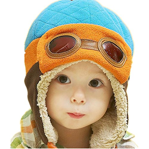 Gotd Baby Girls Boys Kids Toddler Knit Cap Warm Earflap Hat (Earflap blue)