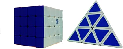 AdiChai Combo of 4 by 4 Speed Magic Cube and Pyraminx