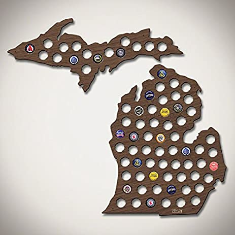 Amazoncom Michigan Beer Cap Map Upper Peninsula Engravable MI - Michigan bottle cap map