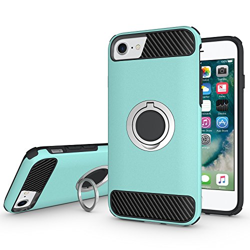 Ownest Compatible with iPhone 7 Plus,iPhone 8 Plus Case Armor Dual Layer 2 in 1 with Extreme Heavy Duty Protection and Finger Ring Holder Kickstand Magnetic Car Mount for iPhone 7/8 Plus -Mint Green