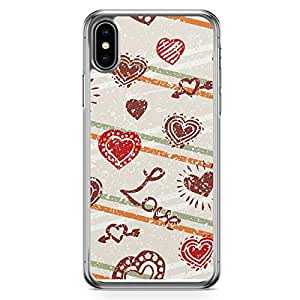 Loud Universe Case For iPhone XS Valentines Day Couples Love Heart Pattern Transparent Edge iPhone XS Case