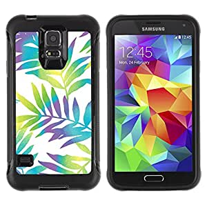 WAWU Rugged Armor Slim Protection Case Cover Shell -- palm branch white vibrant leaves -- Samsung Galaxy S5 SM-G900
