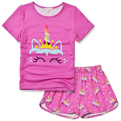 Unicorn Pajamas for Girls 8 9 Little Kids Pjs Sets Short Sleeve Night Shirts Red]()