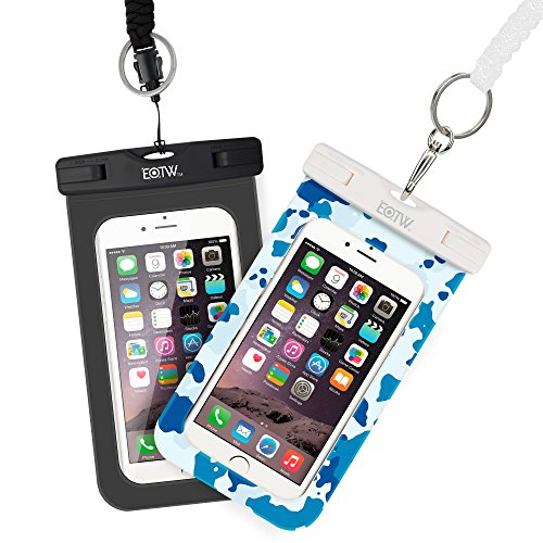 EOTW Waterproof Cell Phone Case Pouch Dry Bag 2 Pack With Military Class Lanyard For iPhone 6 6S Plus 5S SE Samsung Galaxy S7 S5 S6 Edge Note 5 LG G4 For Fishing Sailing Boating Diving Black Camo Blue (Note Sailing)