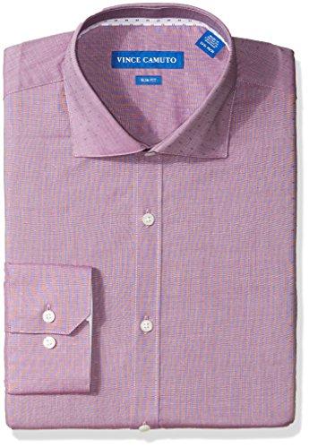 - VINCE CAMUTO Men's Slim Fit Square Dobby Dress Shirt, Ruby, 16