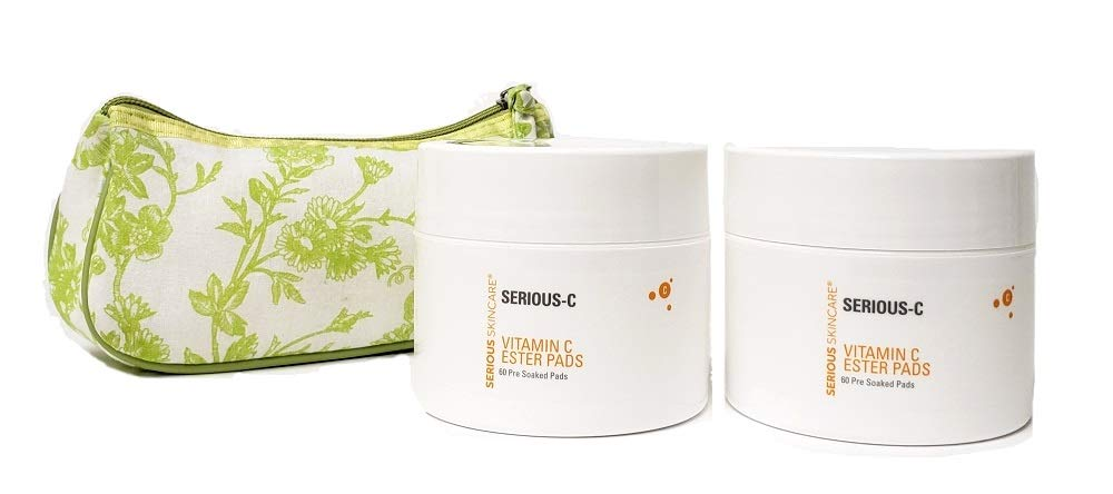 Serious Skincare Serious C Vitamin C Ester Pads DUO w/Green Toile Floral Cosmetic Bag