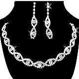 SODIAL(R) Women's Jewelry Set Bridal Wedding 8 Shape Crystal Rhinestone Necklace Earrings