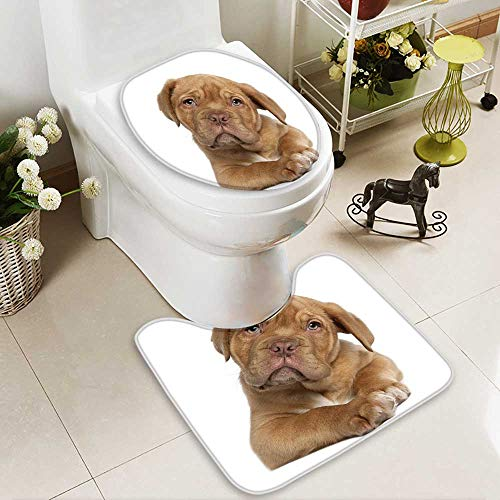 aolankaili Soft Toilet Rug 2 Pieces Set Dogue de Bordeaux puppy,weeks old,lying in front of white background ()