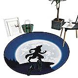 "Wolf Round Rug Kid Carpet Full Moon Night Sky Growling Werewolf Mythical Creature in Woods Halloween Soft Area Rugs (51"" Diameter) Dark Blue Black White"