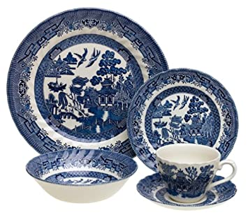 Churchill China Chelsea Blue Willow 20-Piece Dinnerware Set, Service for 4