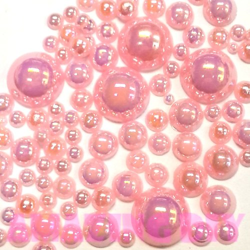 - 200 pcs 2mm -10mm Light Pink resin faux round Shiny Pearls Flatback Mix SIZE *ship with FREE GIFT from GreatDeal68*