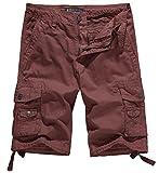 WenVen Men's Cotton Twill Cargo Short Outdoor Wear Lightweight(No.4 Brick red,40)
