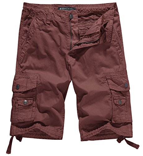 WenVen Men's Cotton Twill Cargo Short Outdoor Wear Lightweight(No.4 Brick red,38) ()