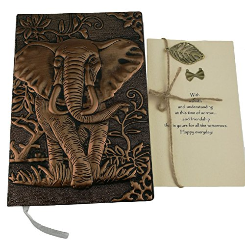 Personalized Handmade 3D Embossed Leather Retro Elephant Pattern Daily Planner Travel Journal Notebook With Greeting Card For Study Birthday Christmas Friends Family Dad Business Gift (Red Copper) ()