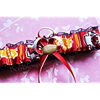 Customizable - KC Kansas City Chiefs red white gold print duck fabric handmade bridal prom black organza wedding garter with football charm