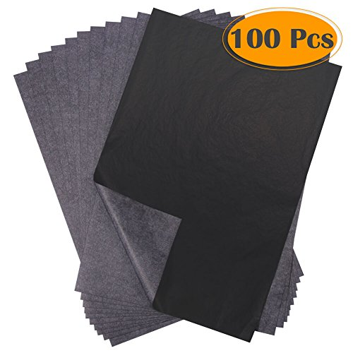 Selizo 100 Sheets Black Carbon Transfer Tracing Paper for Wood, Paper, Canvas and Other Art Surfaces (9 x 13 (Carbon Art)