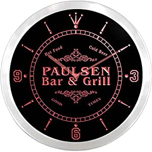 ncu34272-r PAULSEN Family Name Bar & Grill Cold Beer Neon Sign LED Wall Clock