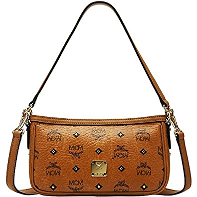 Image Unavailable. Image not available for. Color  2014 NWT Authentic MCM  Mini Shoulder Bag Gold Visetos Cognac Brown Leather for Women ... 84259a4f7ae65