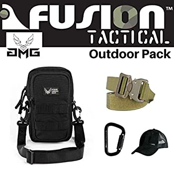 Image of AMG & Fusion Outdoor Pack Black, Great Carry-On Flight Approved Travel Bag, Outdoors, and on The Go, with Belt, Carabiner and Black Cap Included Game Belts & Bags