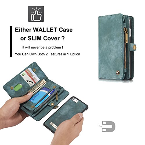 ICE FROG iPhone 7 / 8 Plus 5.5'' Wallet Case, Premium Folio Zipper Purse Leather Detachable Magnetic Case with Flip Credit Card Slots Stand Holder Cover for iPhone 7 / 8 Plus 5.5 inch - Blue by ICE FROG (Image #3)