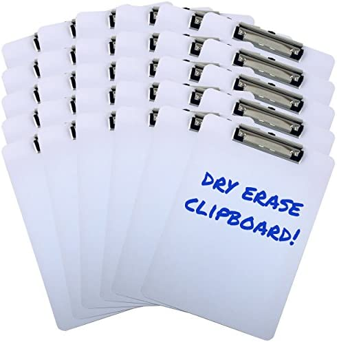 Clipboard Dry Erase Surface 9'' x 12.5'' Letter Size Low Profile Clip Whiteboard (Pack of 30)