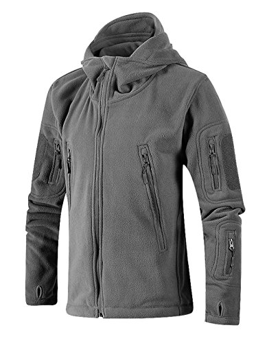 Chartou Men's Tactical Zip-Up Fleece Outdoor Hooded Jacket Hoodies With Thumbholes (Small, Grey)