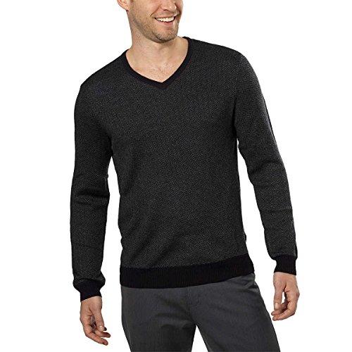 Calvin Klein Mens Merino Wool V-Neck Sweater (Medium, Black Combo)