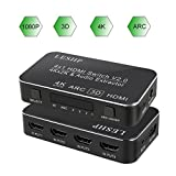 LESHP Upgrade ARC HDMI Switch Hub 4K x 2K/60Hz 4 x 1 Splitter/Switcher with Audio Extractor 3.5mm Jack & Optical TOSLINK SPDIF Support Macbook/ PS4/ Amazon Fire TV/ Blu-ray DVD/ Wii/ PSP