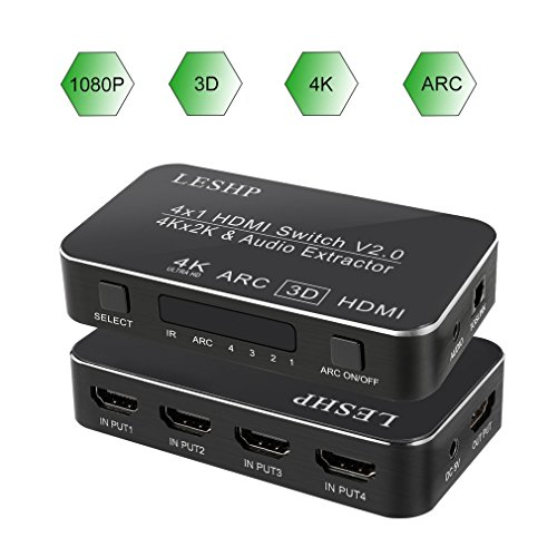 LESHP Upgrade ARC HDMI Switch Hub 4K x 2K/60Hz 4 x 1 Splitter/Switcher with Audio Extractor 3.5mm Jack & Optical TOSLINK SPDIF Support Macbook/ PS4/ Amazon Fire TV/ Blu-ray DVD/ Wii/ PSP