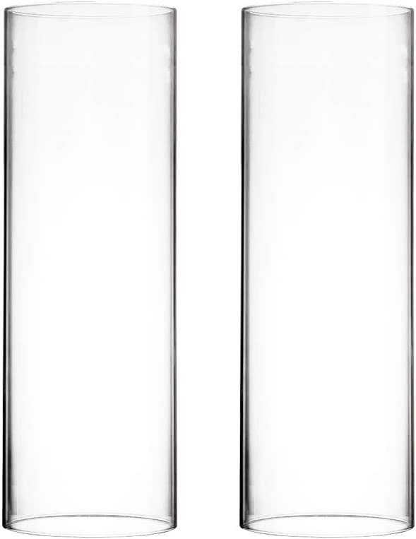 "CYS EXCEL Various Size Hurricane Candleholders, Chimney Tube, Glass Cylinder Open Both Ends, Open Ended Hurricane, Glass Shade Candle Holders Set of 2 (4.75"" Wide x 14"" Tall)"