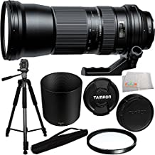 Tamron SP 150-600mm f/5-6.3 Di VC USD Lens for Canon + Manufacturer Accesories + 95mm Multi-Coated UV Filter + 75-inch 3-way Panhead Tilt Motion with Built In Bubble Leveling Tripod + Microfiber Cleaning Cloth