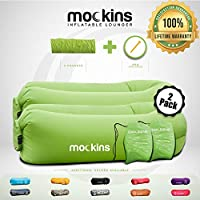 Mockins 2 Pack Inflatable Lounger Air Sofa Perfect for Beach Chair Camping Chairs or Portable Hammock and Includes Travel Bag Pouch and Pockets   Easy to Use Camping Accessories -Green Color