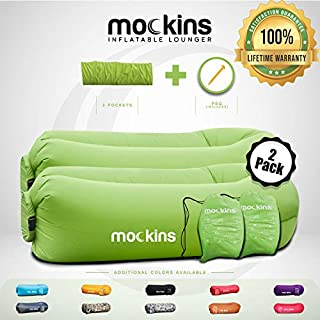 Mockins 2 Pack Inflatable Lounger Air Sofa Perfect for Beach Chair Camping Chairs or Portable Hammock and Includes Travel Bag Pouch and Pockets | Easy to Use Camping Accessories -Green Color