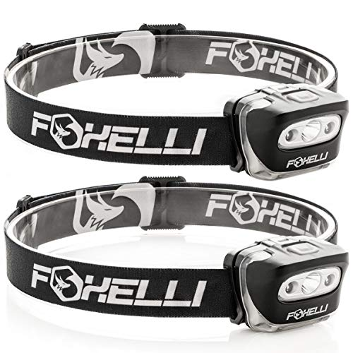 Foxelli Headlamp Flashlight (2-Pack) - 165 Lumen, 3 x AAA Batteries Operated (Included), Bright White Cree Led & Red Light, Perfect for Runners, Lightweight, Waterproof, Adjustable Headband